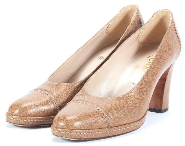 CHANEL Beige Leather Pump Heels Size 7.5 IT 37.5