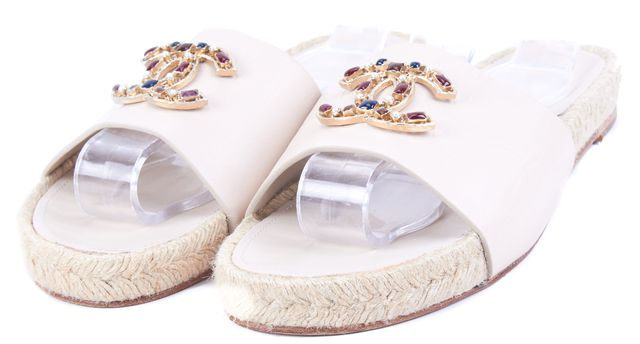 CHANEL Beige Genuine Leather Espadrille Mules Sandals Jewel CC