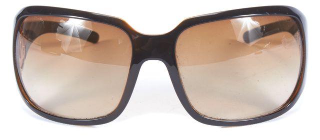 CHANEL Brown Gold Tone Hardware Rectangular Gradient Sunglasses