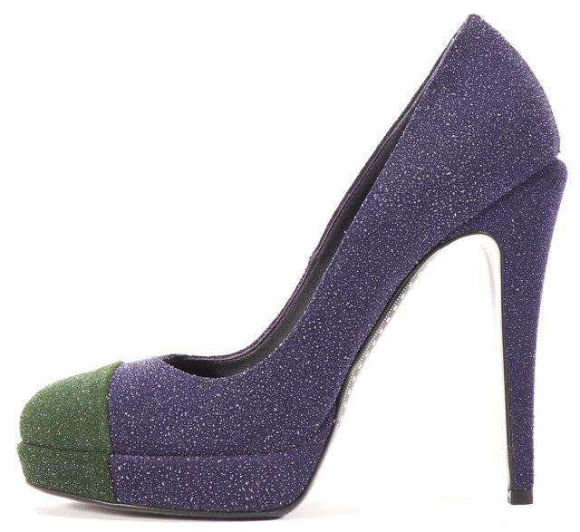 CHANEL Blue Green Glitter Suede Cap-Toe Platform Heels