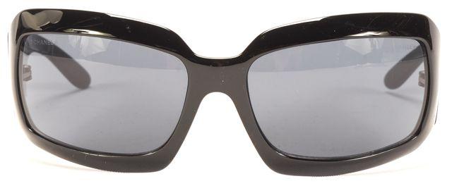 CHANEL Black Rectangular CC Temple Logo Sunglasses