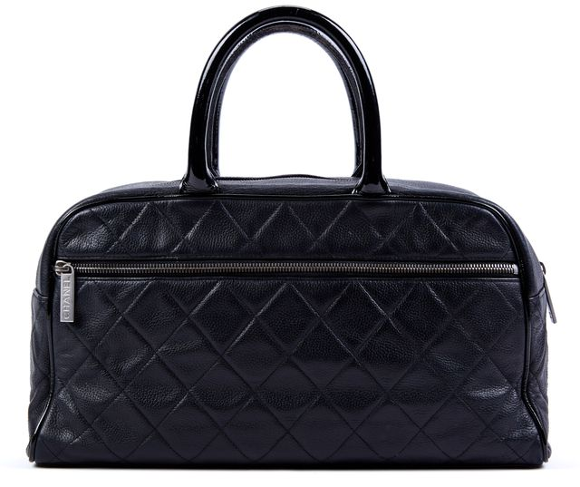 CHANEL Black Leather Top Handle Bags