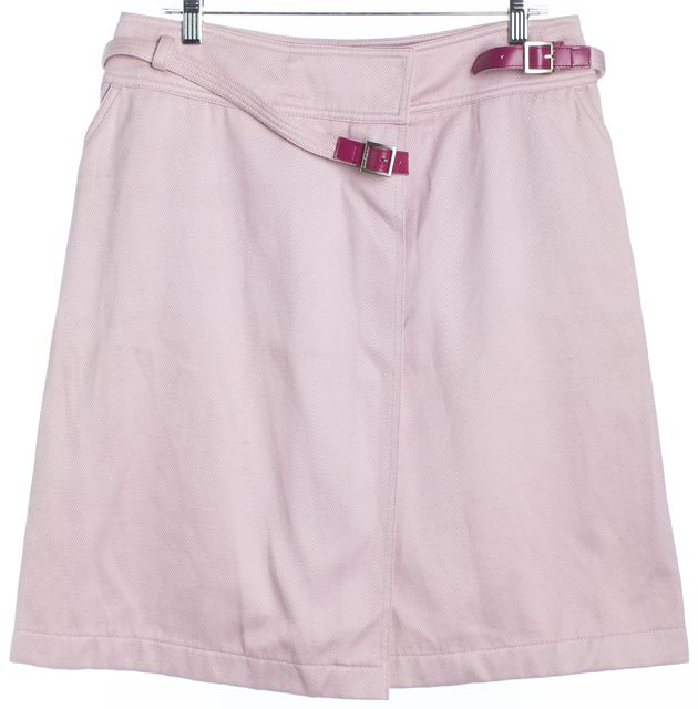 CHANEL Pink Denim A-Line Skirt Buckle Front Detail