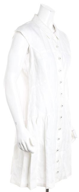 CHANEL Ivory Linen Pleated Bottom Shift Dress