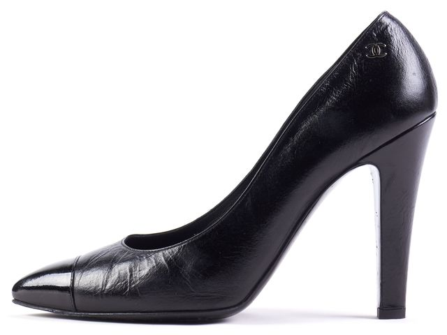 CHANEL Black Leather Cap Toe Heels