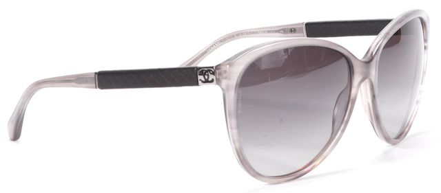 CHANEL Gray Round Quilted Sunglasses