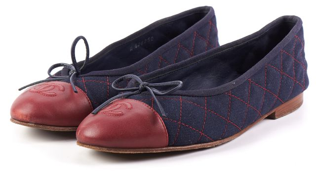 CHANEL Blue Red Checkered Flats