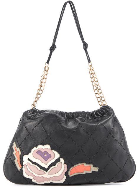 CHANEL Black Leather Camellia Chain Strap Shoulder Bag