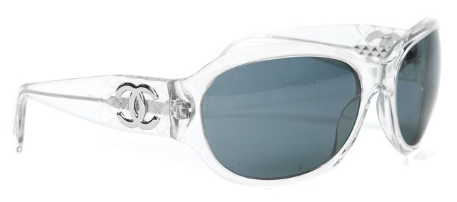 CHANEL Clear Acetate Oval Sunglasses