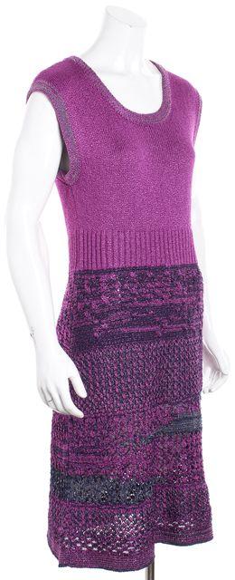 CHANEL Purple Boucle Knit Sleeveless Sweater Dress