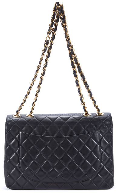 CHANEL Black Classic Leather Quilted Gold Chain Jumbo Flap Shoulder Bag