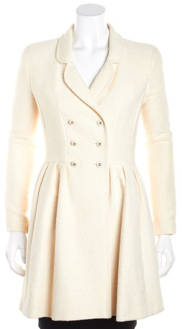 CHANEL Ivory Tweed Baby Doll Doubled Breasted Peacoat