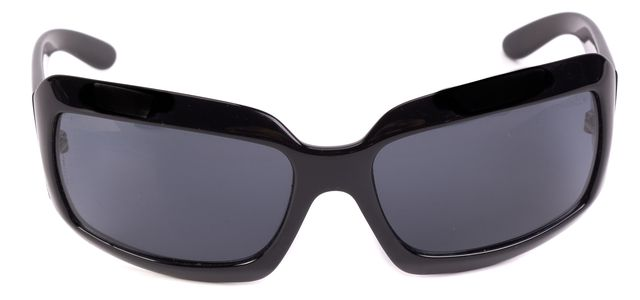 CHANEL Black Rectangular CC Temple Logo Sunglasses