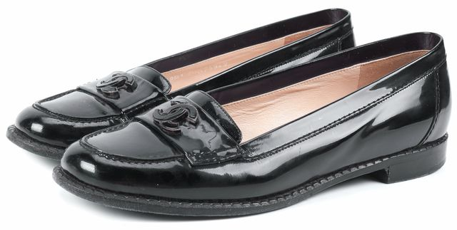 CHANEL Black Patent Leather Loafers
