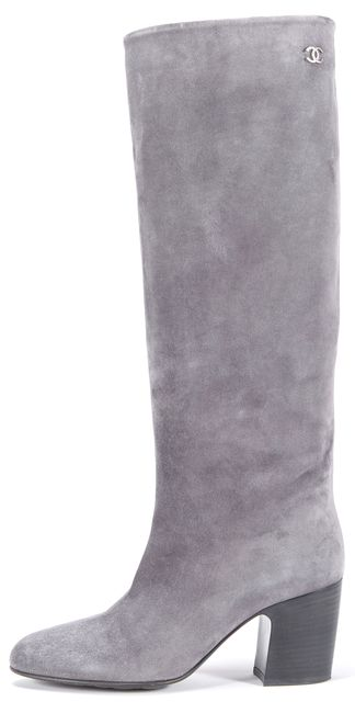 CHANEL Gray Suede Knee-High Stacked Heel Boot