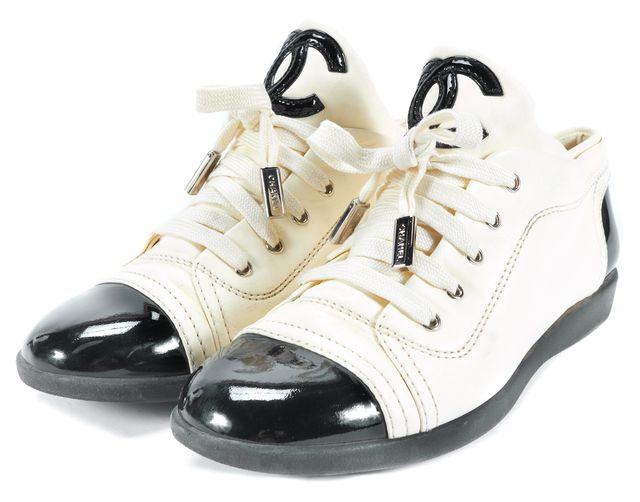 CHANEL Ivory Black Lamb Leather Cap Toe Lace Up Sneakers Size Us 6 IT 36.5
