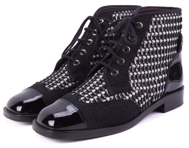 CHANEL Black White Silver Tweed Patent Leather Trim Lace Up Bootie