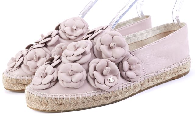CHANEL Light Pink Floral Leather Espadrille Loafers