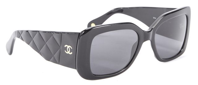 CHANEL Black Quilted CC Oversized Rectangular Sunglasses w Case