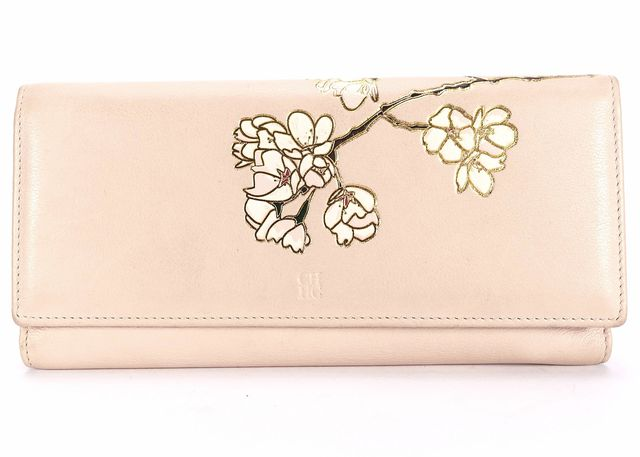 CH CAROLINA HERRERA Light Pink Leather Cherry Blossom Long Continental Wallet