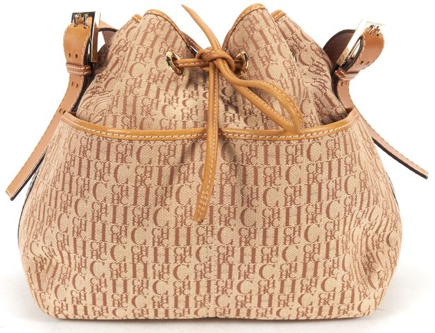 CH CAROLINA HERRERA Biege Monogram Canvas Leather Drawstring Bucket bag