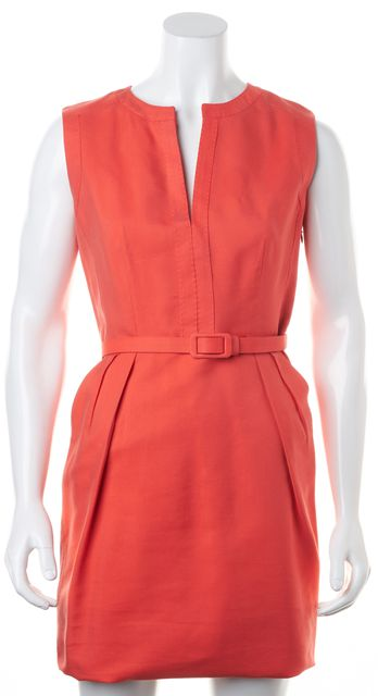 CH CAROLINA HERRERA Coral Pink Sleeveless Removable Belt Sheath Dress