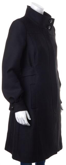 CH CAROLINA HERRERA Black Wool Snap Button Down Long Coat