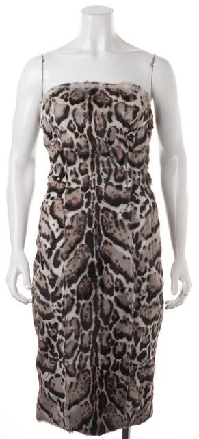 CHRISTOPHER KANE Black Brown Gray Jaguar Print Leather Pencil Dress