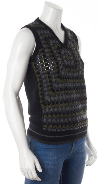 CHRISTOPHER KANE Green Black Abstract Crochet Sleeveless Knit Top