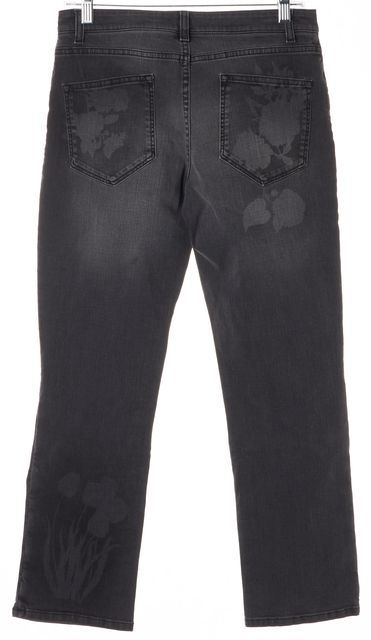 CHRISTOPHER KANE Gray Floral Mid-Rise Cropped Straight Leg Jeans