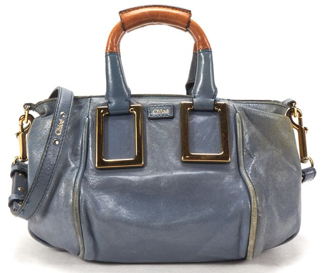 CHLOÉ Blue Leather Small Ethel Crossbody Handbag