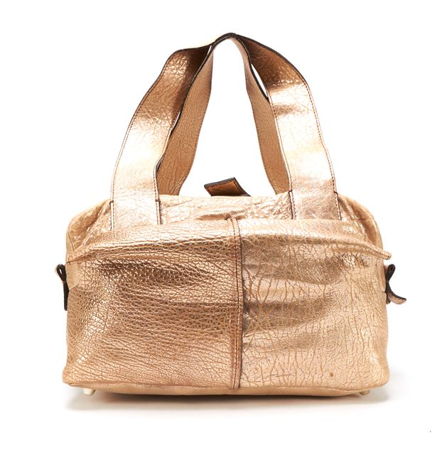 CHLOÉ CHLOÉ Gold Pebbled Leather Multi Pocket Top Handle Bag