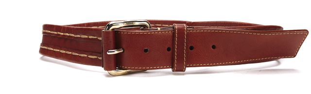 CHLOÉ Brown Stitch Trim Leather Belt
