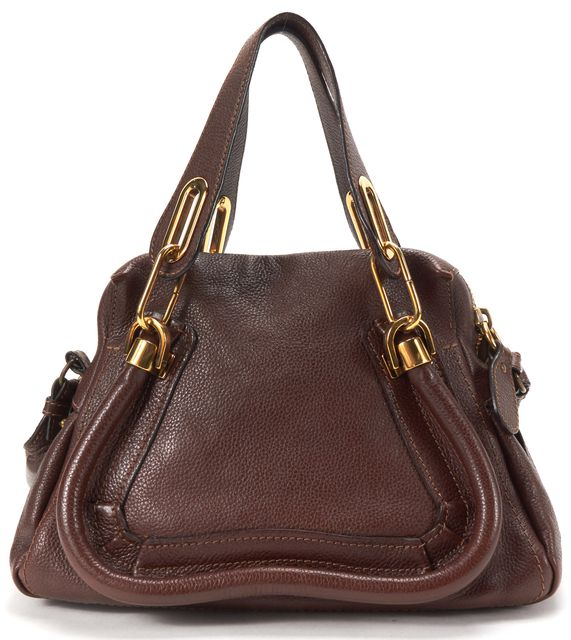CHLOÉ Brown Leather Small Paraty Satchel Handbag