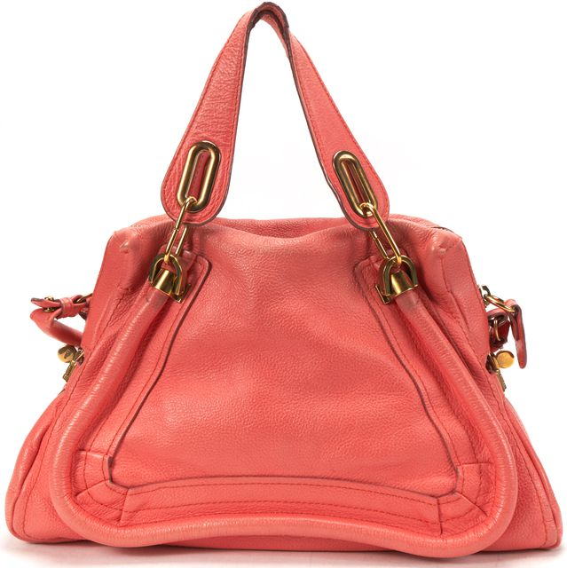 CHLOÉ Coral Pink Leather Medium Paraty Satchel Handbag