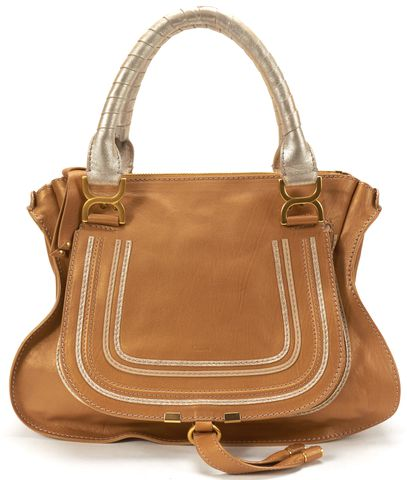 CHLOÉ CHLOÉ Authentic Bronze Metallic Leather Medium Marcie Shoulder Handbag