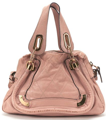 CHLOÉ Pink Leather Diamond Stitch Small Paraty Handbag