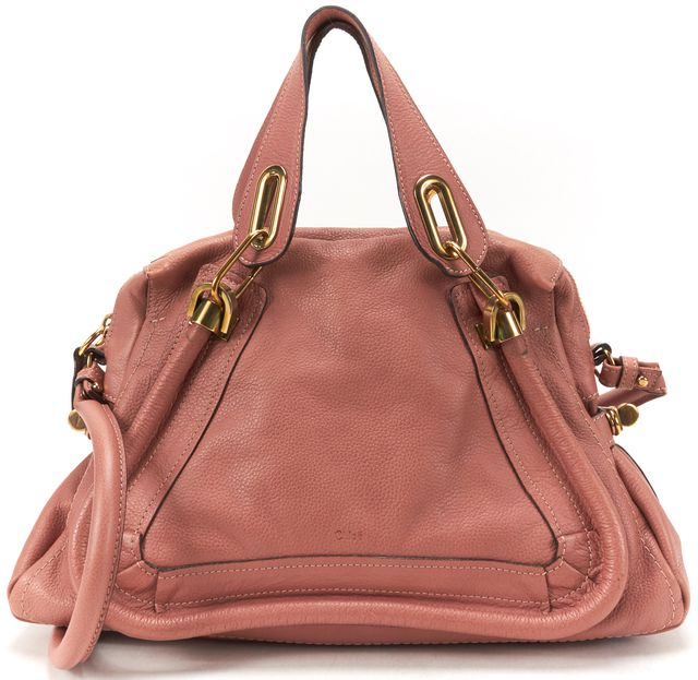 CHLOÉ Dusty Pink Leather Medium Paraty Satchel Handbag