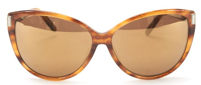 CHLOÉ CHLOÉ Brown Woodgrain Acetate Oversized Cat Eye Sunglasses w/ Case