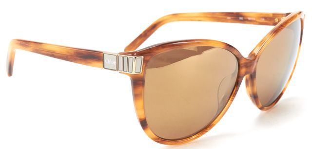 CHLOÉ CHLOÉ Brown Woodgrain Acetate Oversized Cat Eye Sunglasses w/ Case