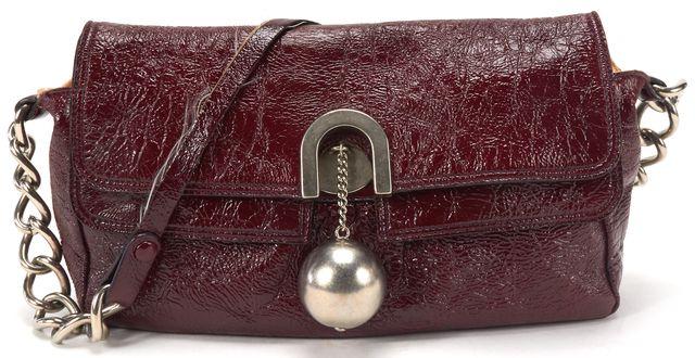 CHLOÉ Authenitc Burgundy Patent Textured Leather Ball Detail Flap shoulder Bag