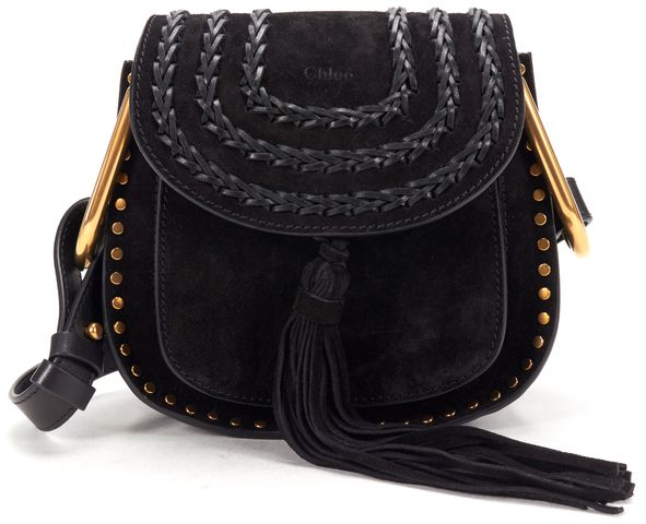 CHLOÉ CHLOÉ Black Suede Leather Trim Hudson Mini Tasseled Crossbody Bag