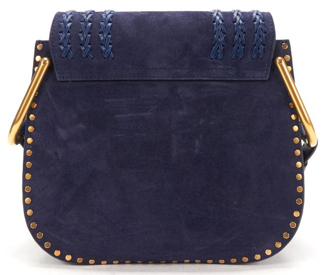 CHLOÉ Ocean Blue Suede Leather Braided Trim Hudson Small Tasseled Crossbody Bag