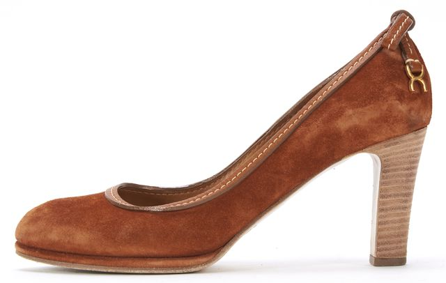 CHLOÉ CHLOÉ Rust Brown Orange Suede Stacked Heel Bow Detail Pumps