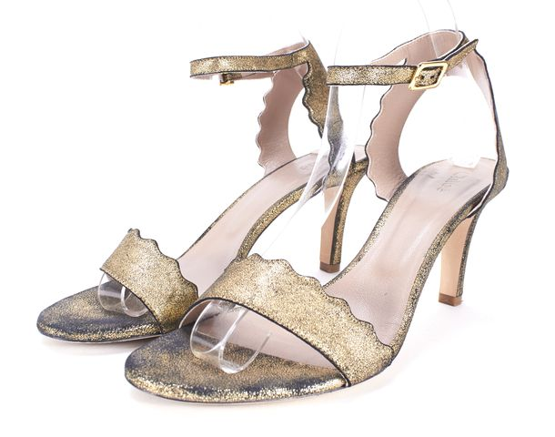 CHLOÉ CHLOÉ Gold Black Metallic Nubuck Leather Open-Toe Ankle Strap Heels