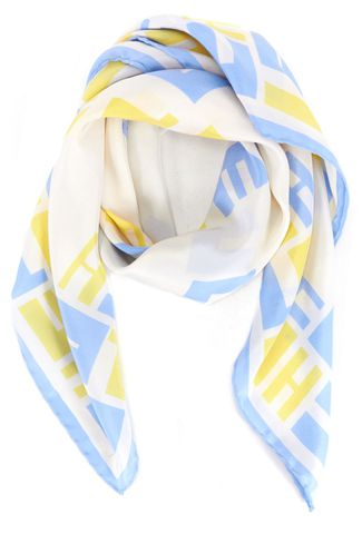 CHLOÉ White Yellow Blue Silk Square Scarf
