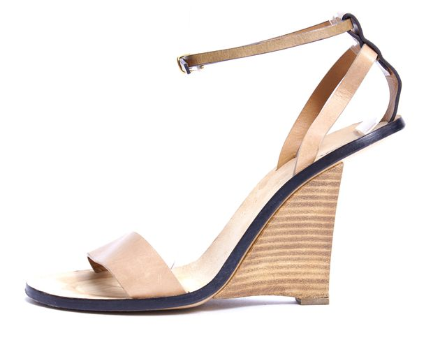 CHLOÉ CHLOÉ Tan Leather Ankle Strap Wedge Heel Sandals