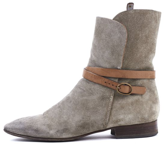 CHLOÉ CHLOÉ Taupe Suede Leather Strap Flat Ankle Boots