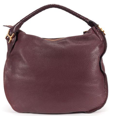 CHLOÉ Burgundy Leather Large Marcie Hobo Bag