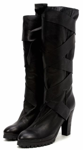 CHLOÉ Black Leather Mid-Calf Boots Lace-Up Heeled Casual Tall Boots